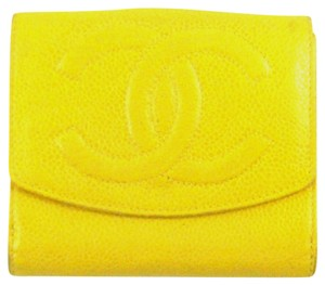 Chanel Caviar Leather Bifold Compact Clutch Snap Wallet Italy