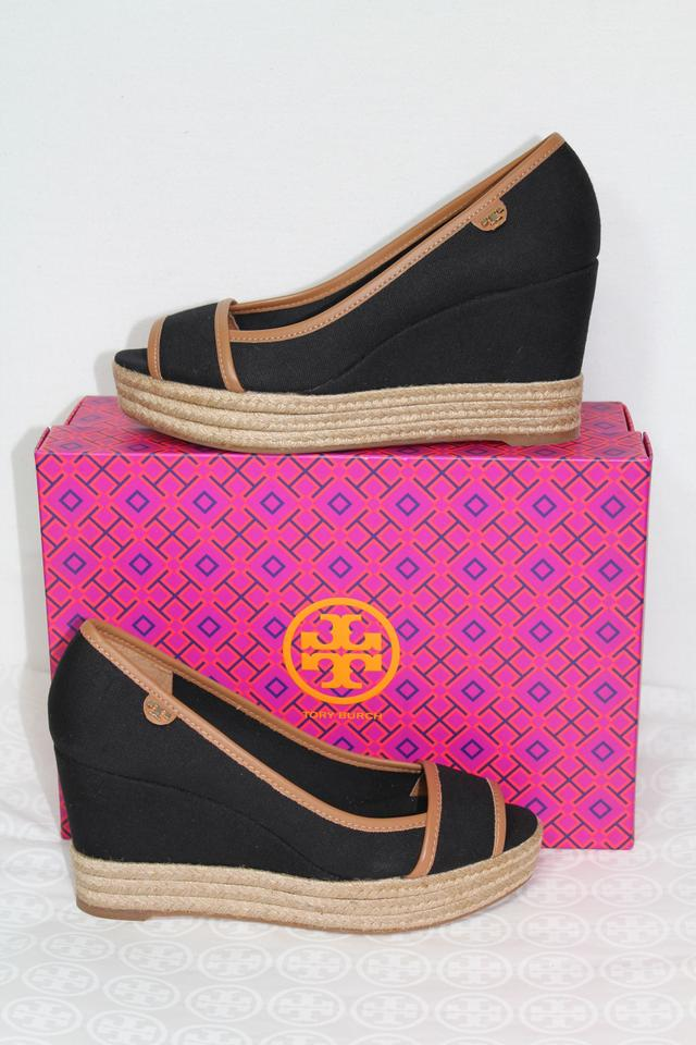 627450a45d68ed Tory Burch Black Tan New Espadrilles Summer Sandals Canvas Box Wedges Size  US 8.5 Regular (M