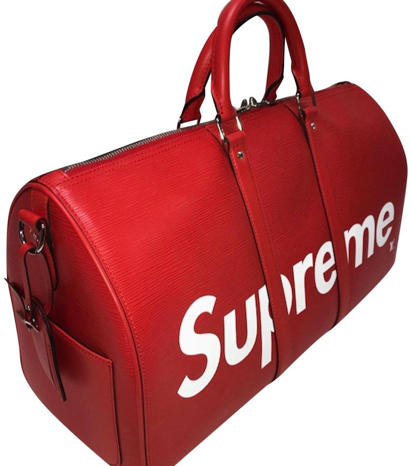 0aa882d8add3 Louis Vuitton x Supreme Keepall Bandouliere Epi 45 Red White Leather  Weekend Travel Bag