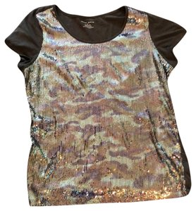 DKNY T Shirt Brown with Camouflage Sequins