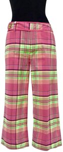 Lilly Pulitzer Cropped Plaid Flat Front Capris Pink, Green, Yellow