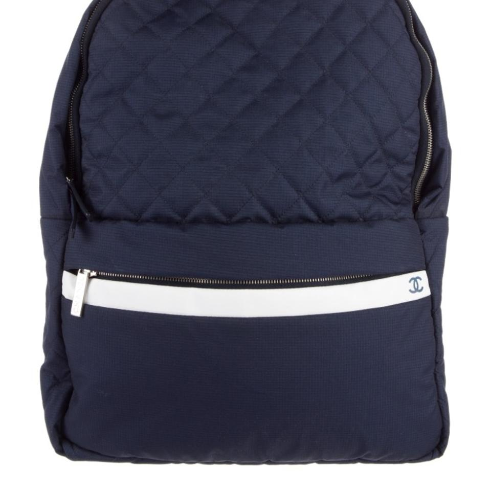 456648010fdc Chanel Backpack Cocoon Coco Blue and White Details Nylon Backpack ...