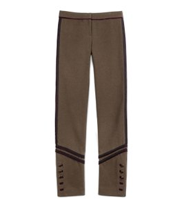 e211bb030cc1 Tory Burch Military Grosgrain Military Inspired Uniform Trouser Pants Olive  Green with Burgundy and Black Side