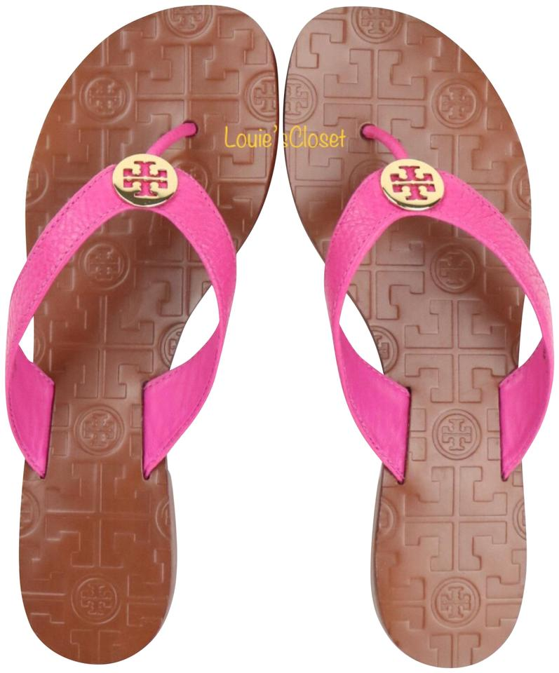b12ba1e2d880 Tory Burch Hibiscus Flower Thora Tumbled Leather Thong Sandals. Size  US  7.5 Regular ...