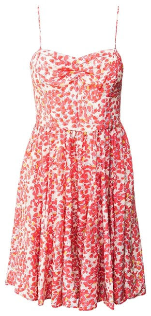 Item - Cream/Pink Pattern Floral Silk Short Casual Dress Size 6 (S)