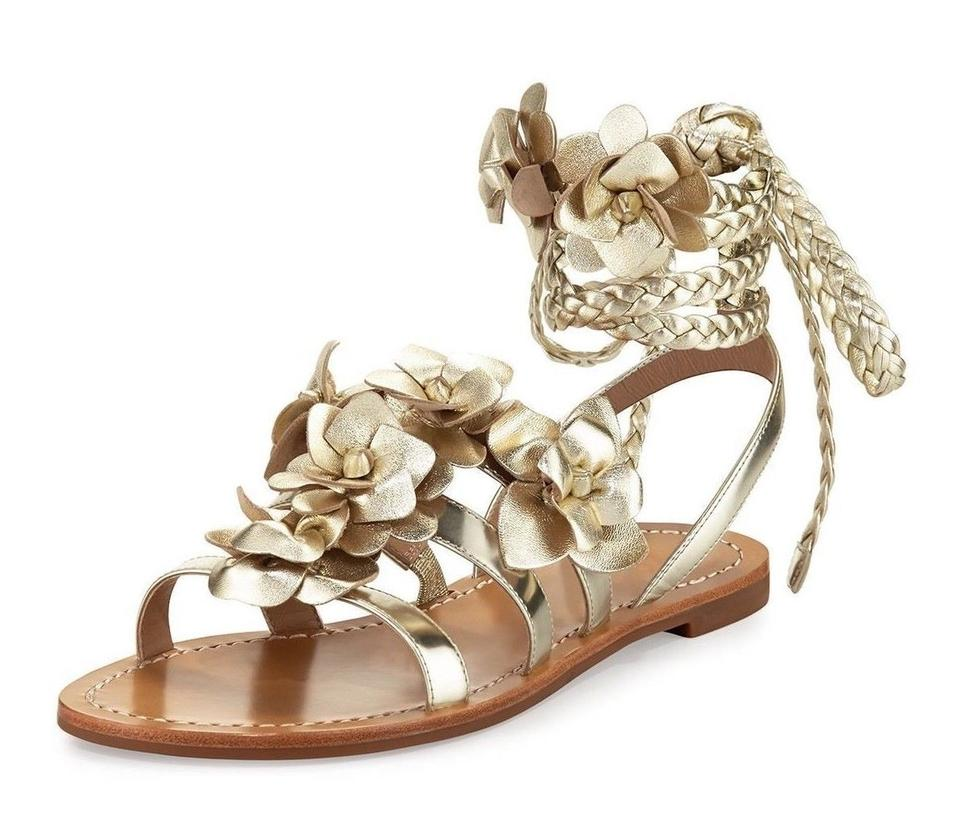 110eb6e431b5d2 Tory Burch Gold New Metallic Lace Up Leather Gladiator Flats Sandals ...