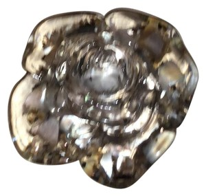 Angela Caputi rare resin pin clear with mother of pearl