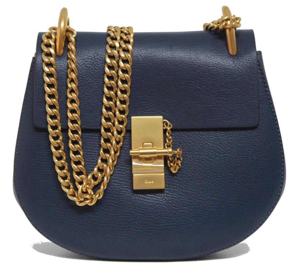 85e1dd9c0b Chloé Chain Drew New Small Goat Gold Denim Blue Leather Shoulder Bag 25%  off retail