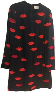Victoria, Victoria Beckham Lip Print Embroidered Patches Beading Long Sleeve Dress
