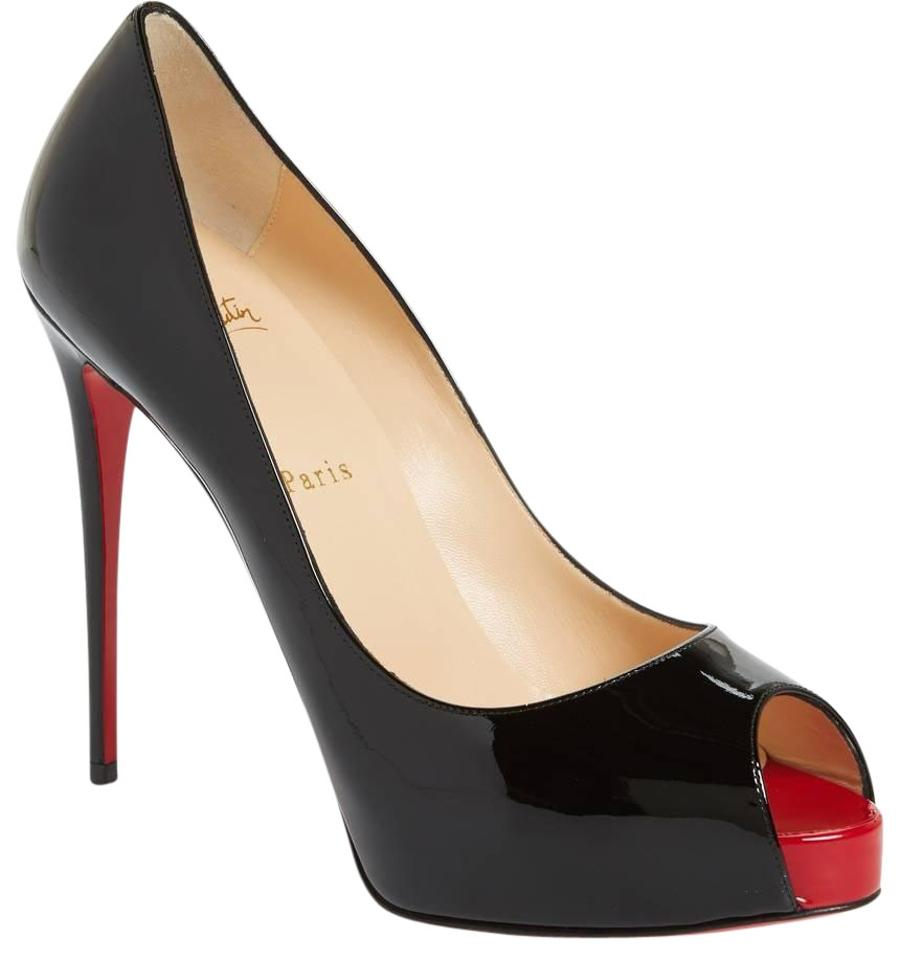 Christian Louboutin Black New Leather Very Prive 120 Patent Leather New Peep Toe 38 Pumps 7efcd9