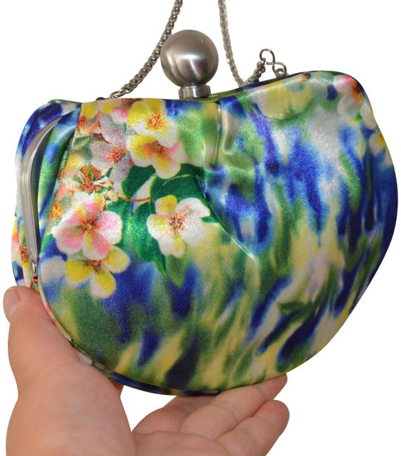 Item - Floral Prints Chain Handbag Blue Satin Clutch