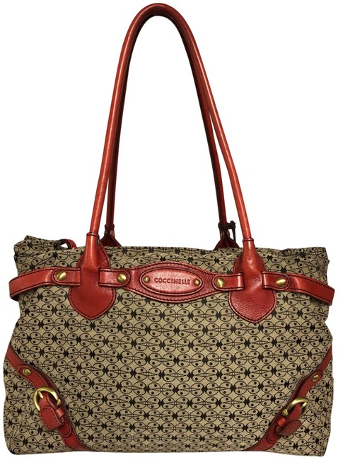 Item - Leather Trim Printed Tote Brown/Red Canvas Satchel