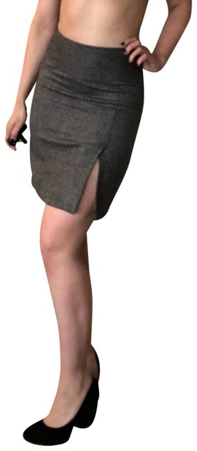 Item - Gray Dolce & Gabbana Herringbone Front Slit Pencil 40 S Skirt Size 4 (S, 27)