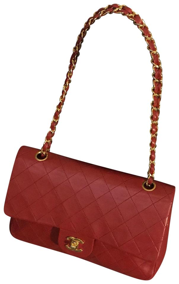 96ffe9312b67 Chanel 2.55 Reissue Double Flap Classic Medium Red Lambskin Leather  Shoulder Bag