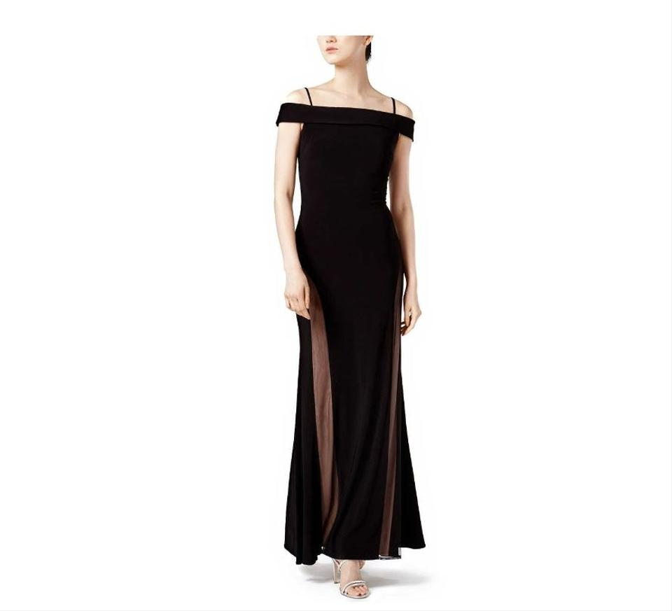 8a2ce6a044b Night Way Collections Black Illusion-mesh Ball Gown Nude Long Formal ...