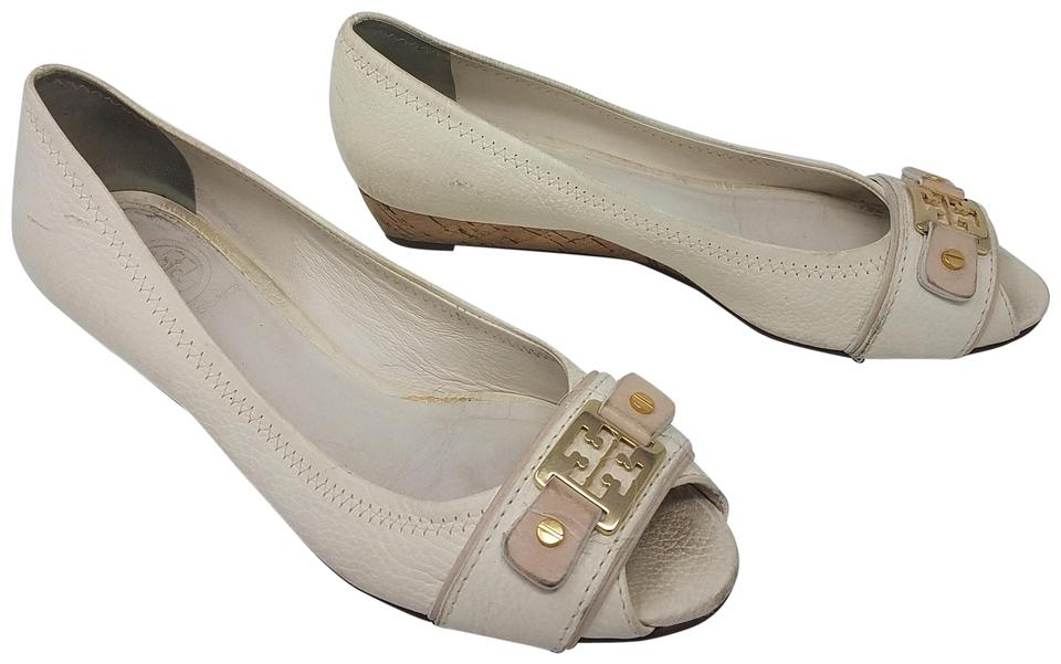 7ccc651ba87e Tory Burch White Gold Ivory Leather Peep-toe Wedge Pumps Size US 7 ...