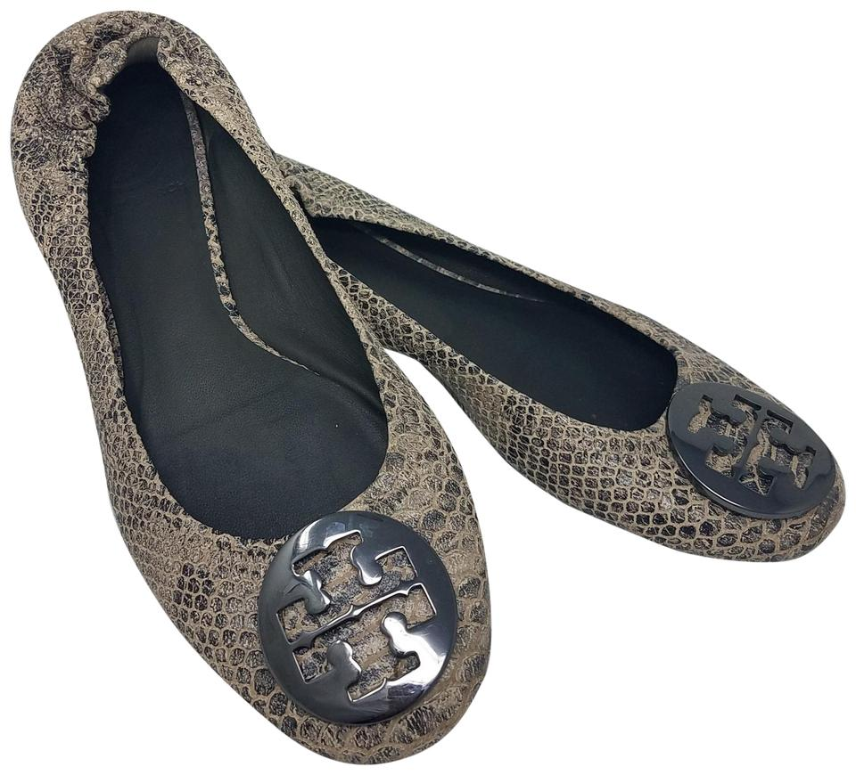 faaffb789ff0 Tory Burch Grey Black Silver Embossed Leather Reva Round-toe Ballet Flats