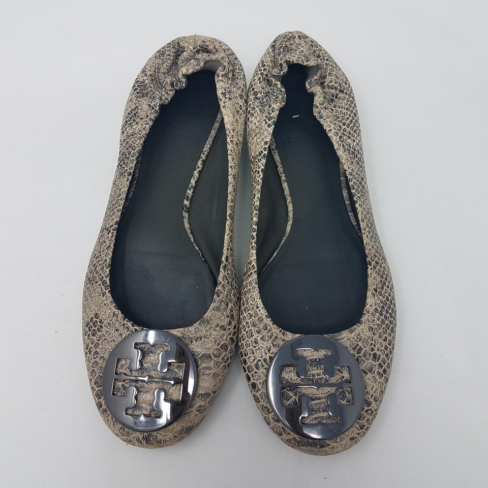 ff5ebde3a Tory Burch Grey Black Silver Embossed Leather Reva Round-toe Ballet ...