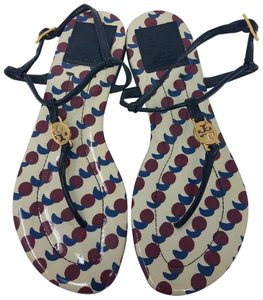 Tory Burch Ankle Strap Patent Leather Reva Miller Hardware Blue, Gold, Red Sandals