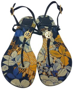 Tory Burch Ankle Strap Patent Leather Reva Miller Hardware Yellow, Blue, Gold Sandals