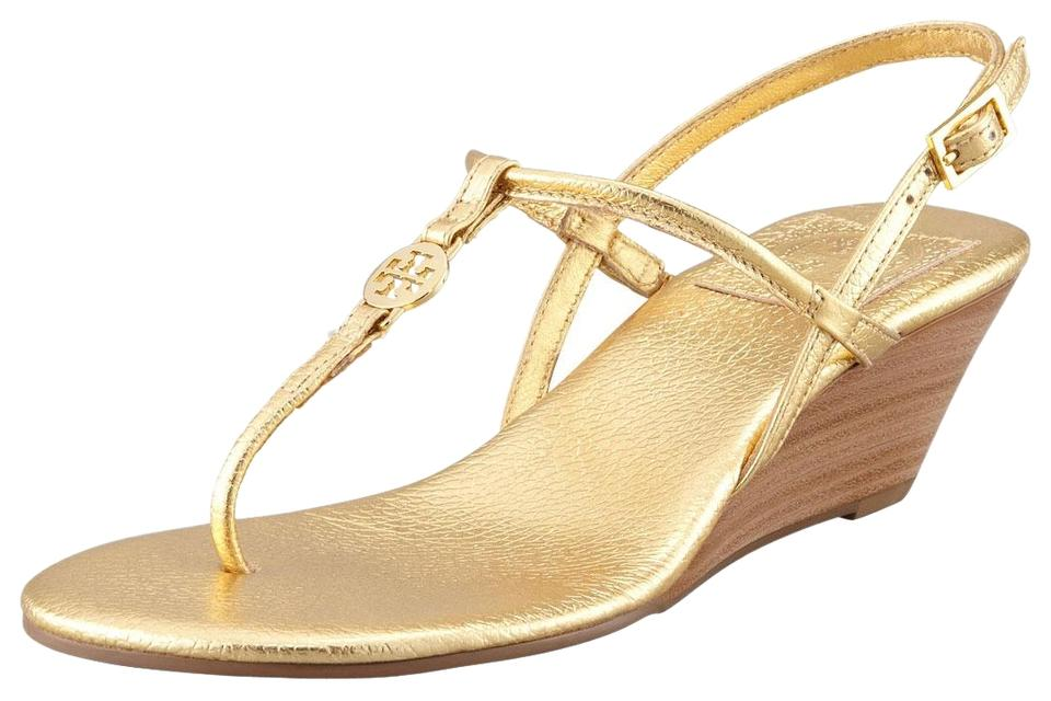 01824f9da7356c Tory Burch Gold T Metallic Leather Emmy T-strap Sandals Size US 7.5 ...