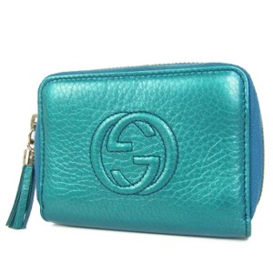 af0694cf175d1b Gucci GUCCI Soho Metallic Leather Zip Around Compact Wallet Purse