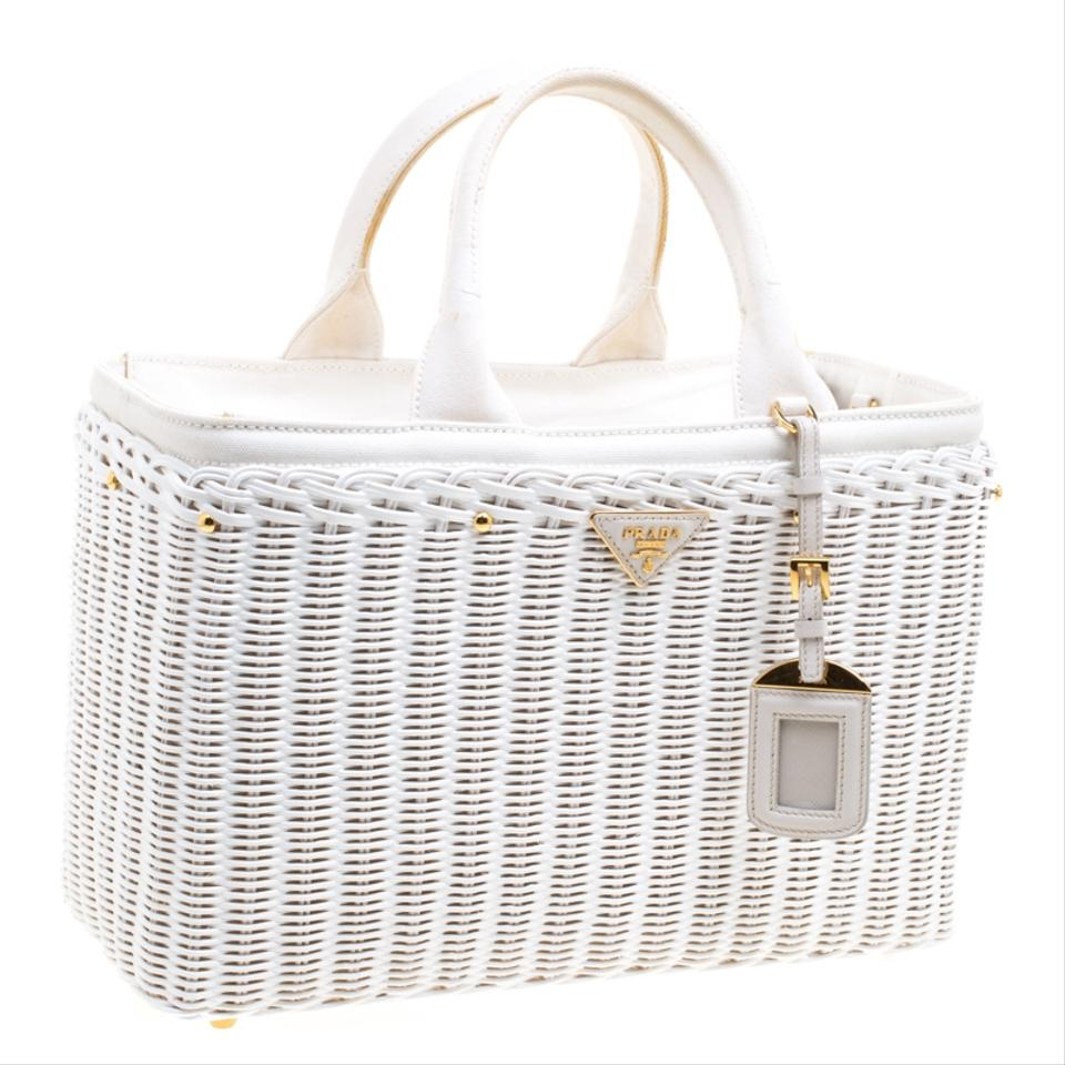 fb9c3b0f1b2b Prada Midollino Large Wicker Shopping White Rattan and Canvas Tote ...