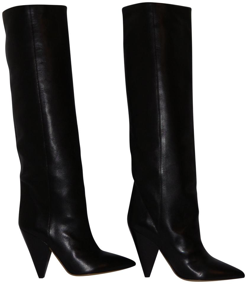 0c2ef1825ac Isabel Marant Black Knee High Lambskin Leather Cone Boots Booties ...