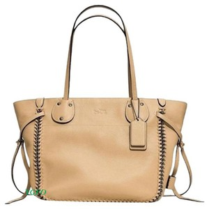 Coach Coachtatum Coachwhiplashtote Leather Satchel Carryall Tote in NUDE, BEIGE, TAN