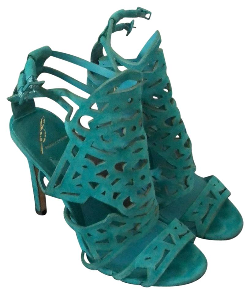 Brian Atwood Sandals Turquoise Laplata Laser Cut Sandals Atwood 771825