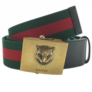 Gucci GUCCI 437487 Unisex Web Canvas with Lion Buckle 90-36