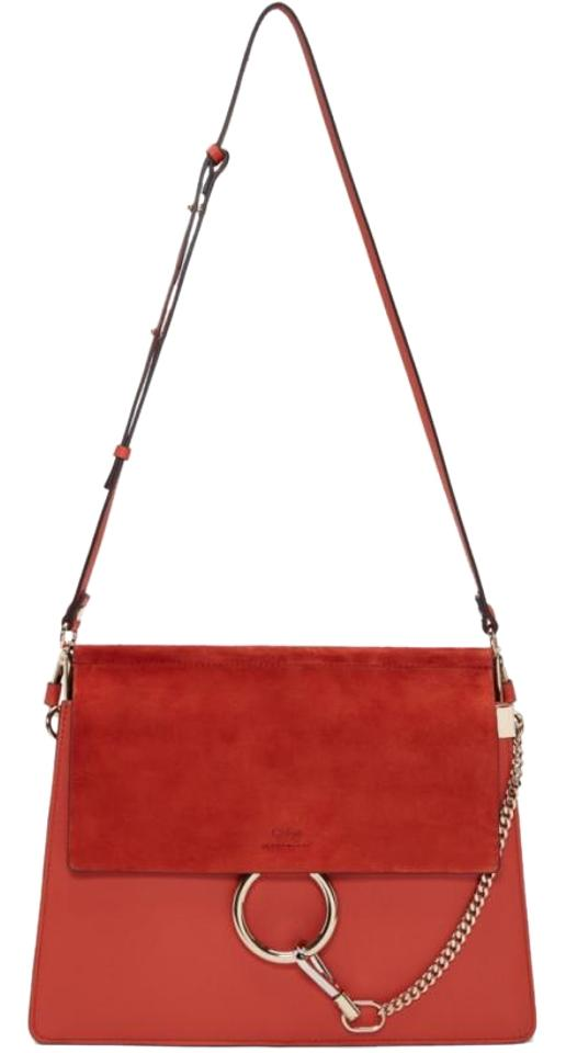 8366d46716 Chloé Faye Medium Red Leather and Suede Shoulder Bag - Tradesy