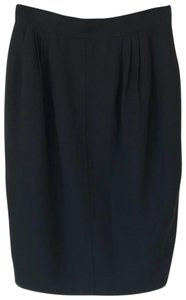 Salvatore Ferragamo Classic Chic Wool Pleated Pencil Skirt Black