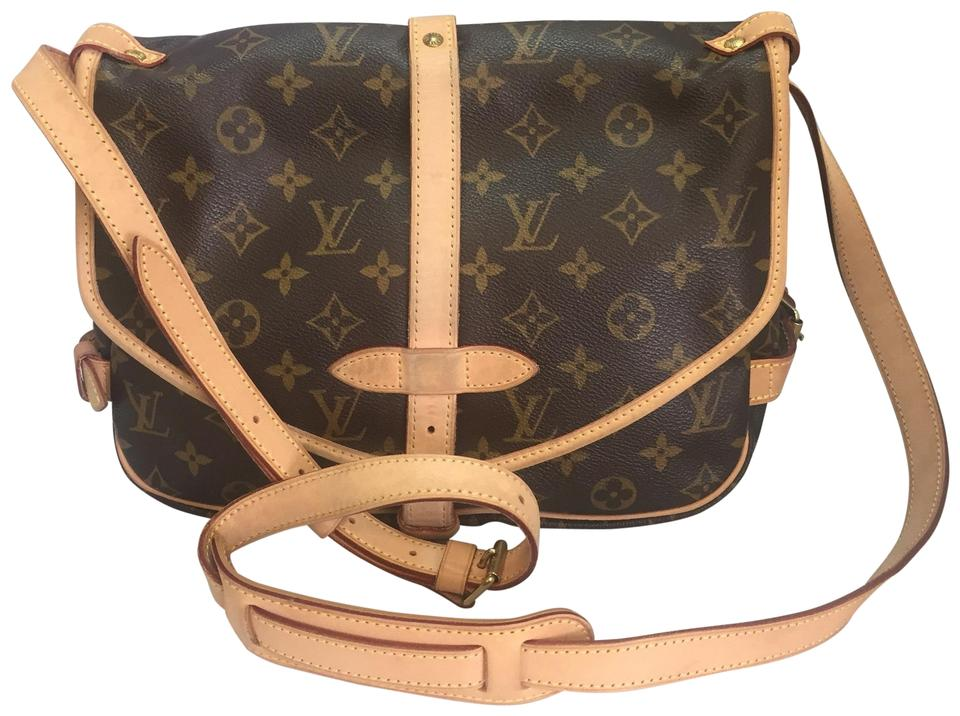 620b63cc0b0f Louis Vuitton Saumur 30 Mm Discontinued and Sold Out Brown Monogram Canvas  Cross Body Bag