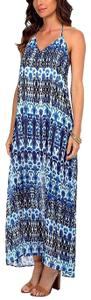 Dark Blue/Ocean/White Maxi Dress by Show Me Your Mumu Draped Maxi Strappy Back Maxi Floral Printed Green Wedding Guest Spring