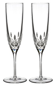 Waterford Clear Set Of 2 Lismore Encore Lead Crystal Flutes
