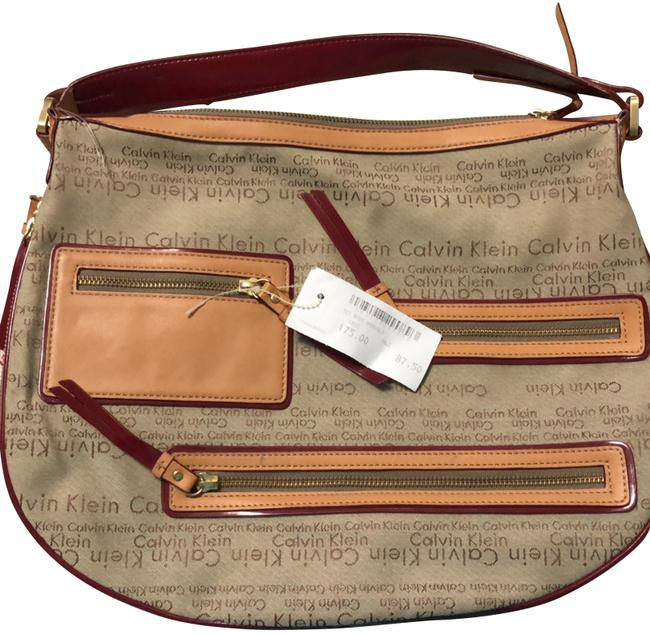 Item - Monogram with Logo On The Tan and Beige. Leather Canvas Hobo Bag
