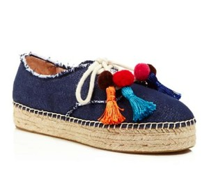 Kate Spade Striped Espadrille Sneaker Canvas Laceup Blue Jeans Athletic
