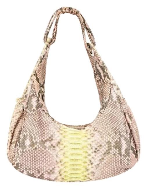 Retta Wolff Handbag Grey Python Skin Leather Shoulder Bag Retta Wolff Handbag Grey Python Skin Leather Shoulder Bag Image 1