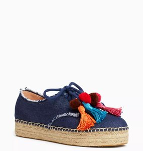 Kate Spade Espadrille Sneaker Canvas Laceup Blue Jeans Athletic