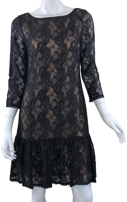 Item - Black/Nude Lace Overlay Shift Short Cocktail Dress Size 8 (M)
