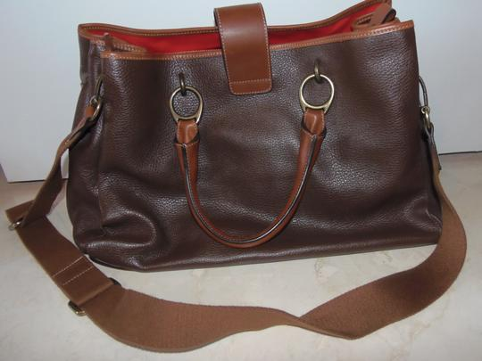 Prix de Dressage Leather Cross Body Tote in Brown & British Tan Image 5