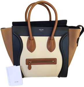 Céline Tote in Cream x Tan x Navy by color
