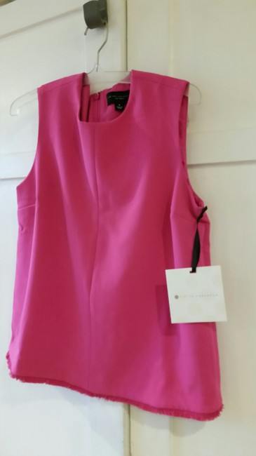 Victoria Beckham for Target Poly Twill Fringe New With Tags Top Fuschia Pink Image 1