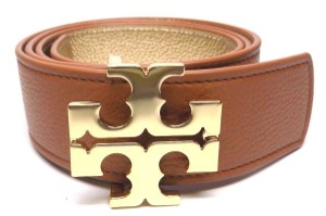 "Tory Burch TORY BURCH 1.5"" BARK BROWN GOLD LEATHER REVERSIBLE LOGO BELT- XS"