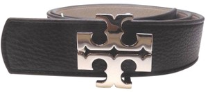 "Tory Burch TORY BURCH 1.5"" BLACK FRENCH GRAY LEATHER REVERSIBLE LOGO BELT- M"