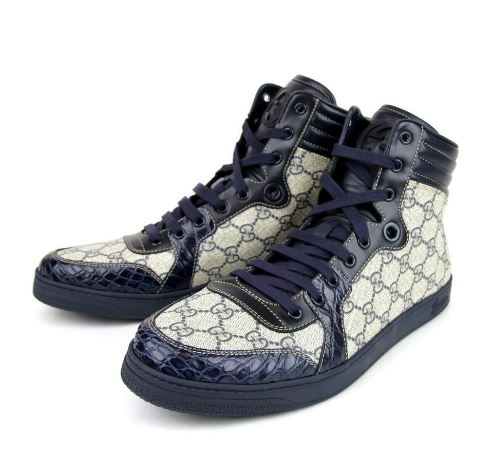 5cd47d94fe5 Gucci Blue Supreme Gg High-top Sneaker W Crocodile Trim 14g 14.5 D ...