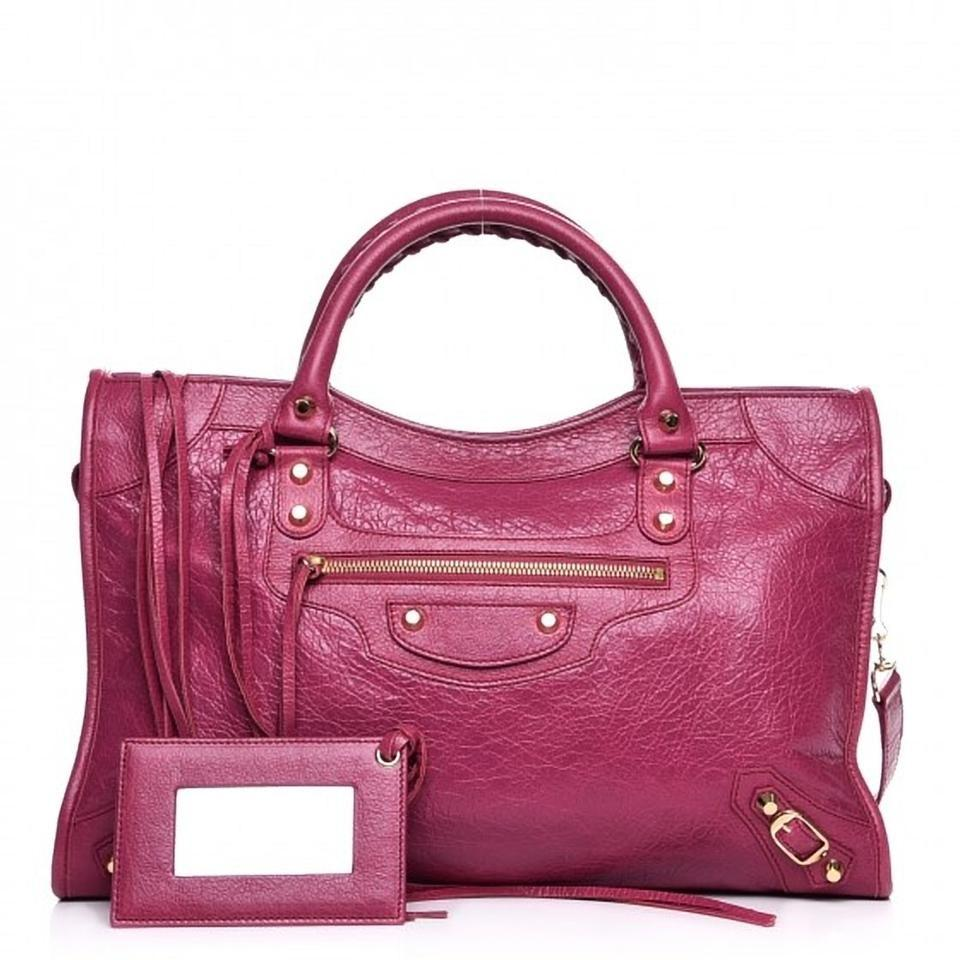 Balenciaga Classic City Shoulder Golden Hardware Removable Strap Tote in  Rose ... 381c722db84bc