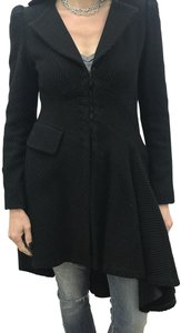 Nanette Lepore Hook And Eye Button Cuff Pea Coat
