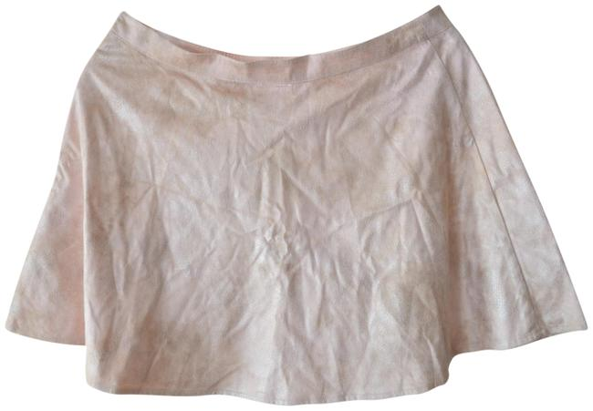 Item - Pink L Powder Faux Suede Flare New Skirt Size 12 (L, 32, 33)